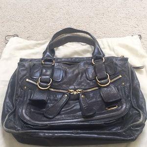 Chloe bay leather bag in midnight blue